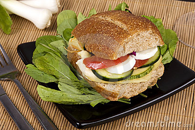 Whole-grain bread sandwich