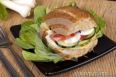 Whole-grain bread sandwich