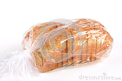 Whole grain sliced bread in plastic bag