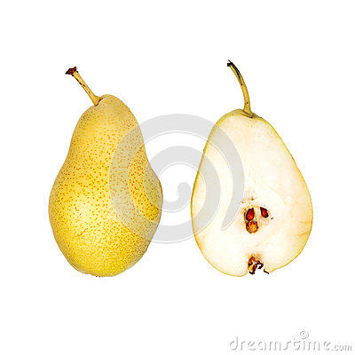 Whole and half cut pear