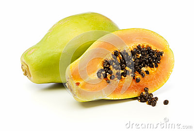 Whole and half Papaya fruit