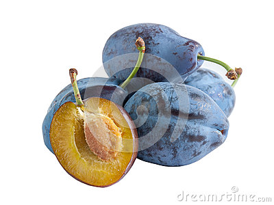 Whole and half plums