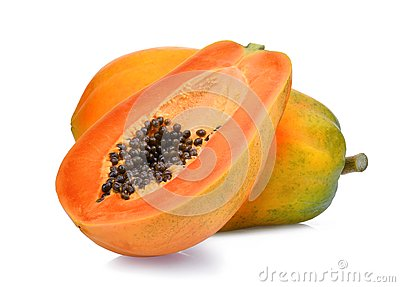 Whole and half of ripe papaya fruit with seeds on white Stock Photo