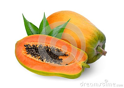 Whole and half ripe papaya with green leaves isolated on white Stock Photo