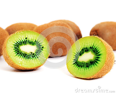 Whole and halved kiwifruit