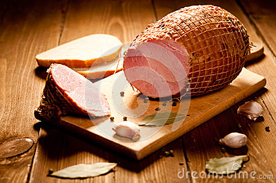 Whole ham with bread