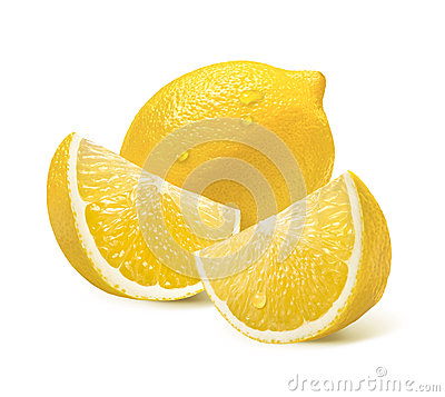 Free Whole Lemon And Two Quarter Slices Isolated On White Royalty Free Stock Photos - 46886638