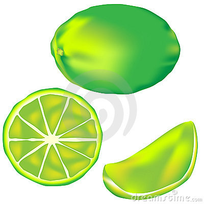 Whole Lime, Slice And Wedge In Vector Stock Photos - Image: 8678413