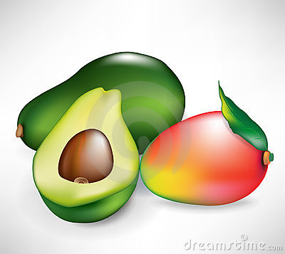 Whole mango fruit and avocado