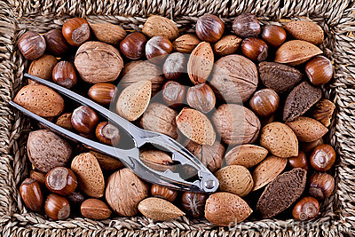 Whole nuts in a basket
