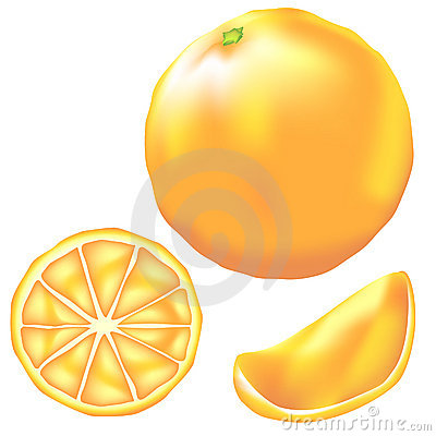 Whole Orange, Slice And Wedge In Vector Stock Image ...