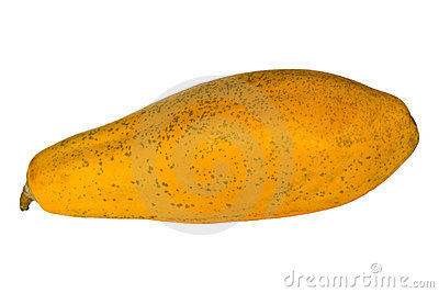 Whole pawpaw or papaya isolated on white