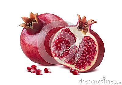 Whole pomegranate half seeds isolated on white Stock Photo
