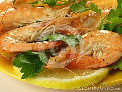 Whole shrimps with parsley, closeup