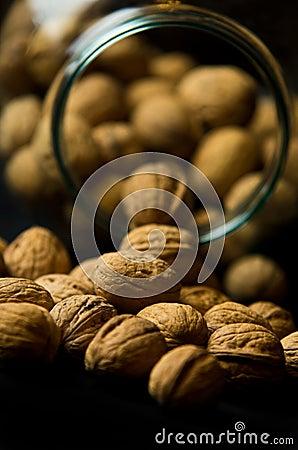 Whole Walnuts in Glass Jar