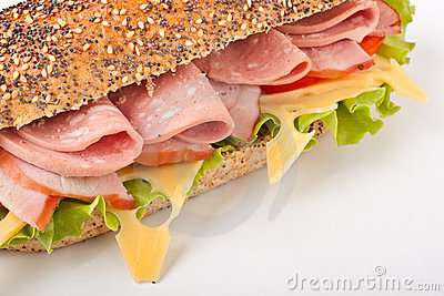 Whole wheat baguette sandwich