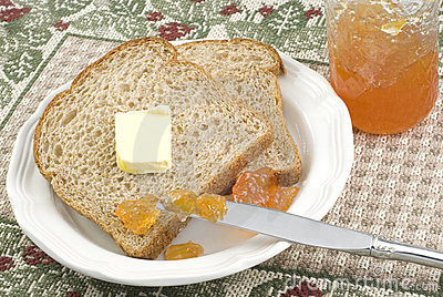 Whole Wheat Bread with Peach Jam and Butter