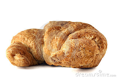 Whole wheat croissant on white