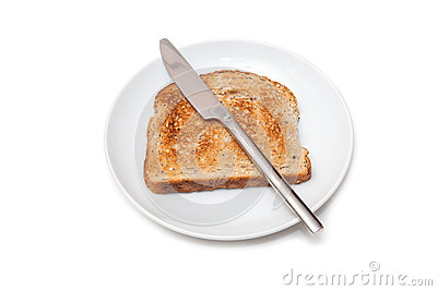 Whole Wheat Toast, Knife and Plate