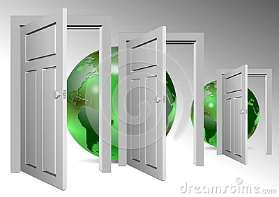 Whole world behind door