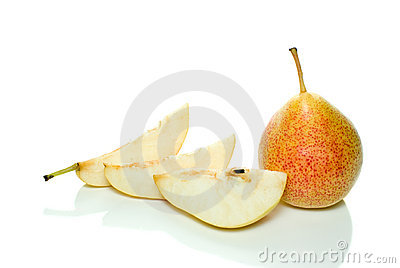 Whole yellow-red pear and few slices