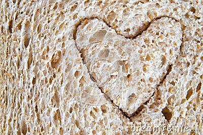 Wholemeal Bread Heart Cutout