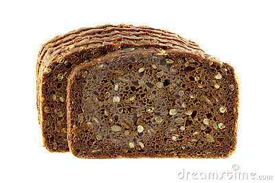 Wholemeal Rye Bread isolated on white