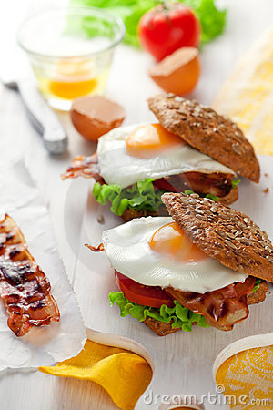 Free Wholemeal Sandwich With Fried Egg And Bacon Stock Photo - 22662160