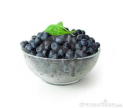 Whortleberries in glass bowl