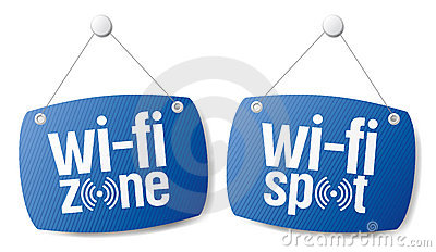 Wi-fi internet signal signs.