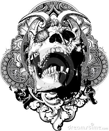 Free Wicked Skull Shield Illustration Royalty Free Stock Photography - 10853567