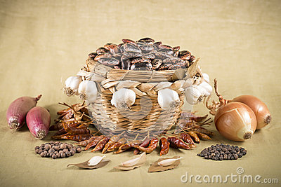 Wicker basket with brown beans