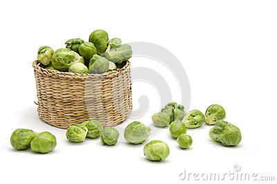 Wicker basket with Brussels sprouts