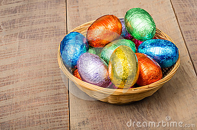 Wicker basket with chocolate eggs