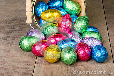 Wicker basket of foil Easter eggs