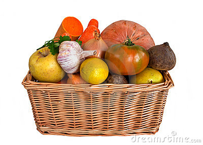 Wicker basket with fruits and vegetables
