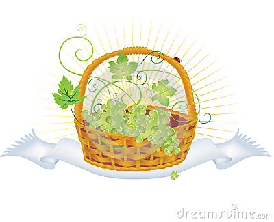 Wicker Basket With Grapes Royalty Free Stock Images - Image: 25353249