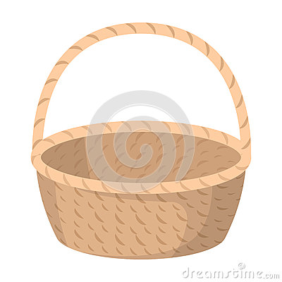 Free Wicker Basket Made Of Twigs. Easter Single Icon In Cartoon Style Rater,bitmap Symbol Stock Illustration. Royalty Free Stock Photography - 91849137