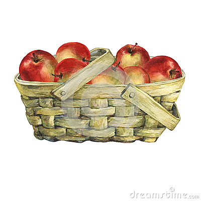 Free Wicker Basket Of Veneer, Filled With Fresh Red Apples. Royalty Free Stock Photo - 85187405