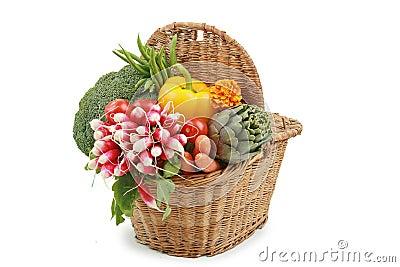 Wicker basket of vegetables