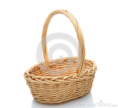 Wicker Basket on White