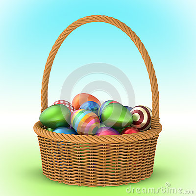 Free Wicker Basket With Easter Eggs 3D Royalty Free Stock Photos - 51518938
