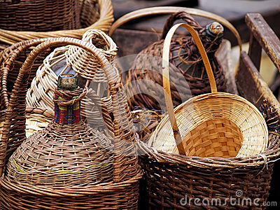 Wicker covered wine bottles