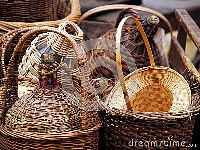 Wicker covered wine bottles