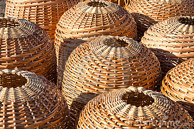 Wicker handmade wooden basket sell street market