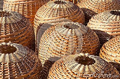Wicker handmade wooden basket sell street market