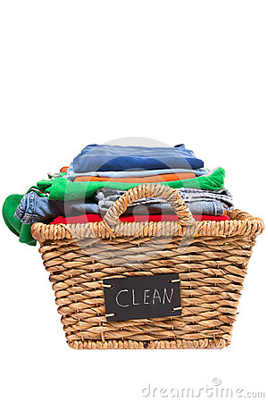 Free Wicker Laundry Basket Filled With Clean Clothes Stock Photos - 38639003