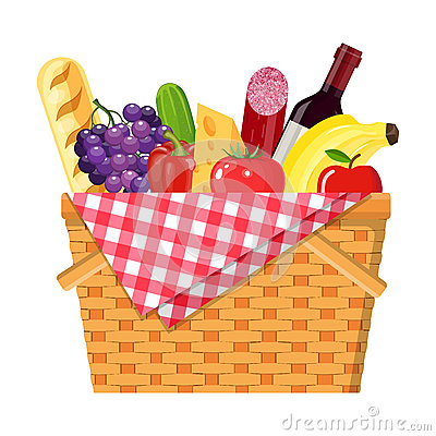 Free WIcker Picnic Basket Stock Images - 93992864