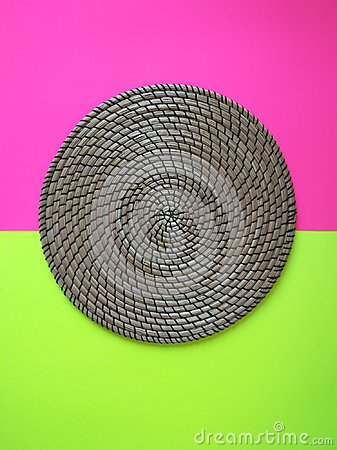 Free Wicker Place Mat On Colorful Background Stock Photos - 100752163