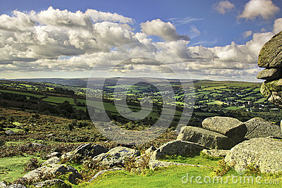 View over the Widdecombe valley from Bonehill Rock